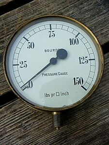 "BOURDON BRASS PRESSURE GAUGE 6"" INCHES"