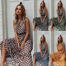 UK Womens Sleeveless Spotty Dot Maxi Dress Ladies Summer Beach Party Sundress
