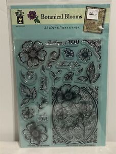 Hot Off the Press BOTANICAL BLOOMS Collage Flowers Floral Rubber Stamps Set