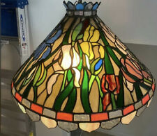 Vintage Tiffany style mid century stained glass leaded copper sauder original