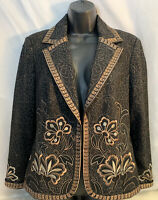 PETER NYGARD-Misses size 10-Wool-Blend Black Embroidered Jacket