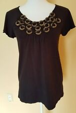 STYLE AND CO SIZE MEDIUM BLACK KNIT TOP WITH NECK EMBELLISHMENTS