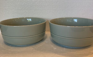 Crate & Barrel HUE Aaron Probyn Cereal Soup Bowls Green Near Mint. Set 2