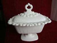 Vintage Indiana Glass Footed Milk Glass Candy Dish with Lid