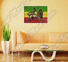 "Rasta Flag Lion Bob Marley Reggae Wall Sticker Room Interior Decor 25X18"""