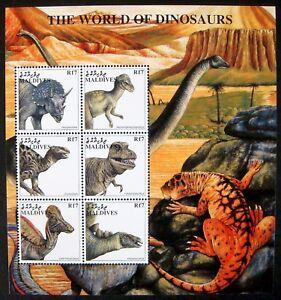 1997 MNH MALDIVES WORLD OF DINOSAURS STAMP SHEET PREHISTORIC ANIMALS TRICERATOPS