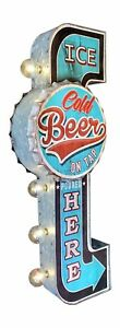ICE COLD BEER ON TAP Double Sided Sign W/ LED Lights, Bottle Cap & Retro Design