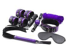 Purple Faux Leather Fur Bondage Fetish Restraint Kit Rope Whip Collar BlindFold