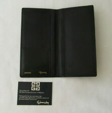 Auth. GIVENCHY Logo G Embossed Billfold Matt Black Leather Wallet Long Flap NWB
