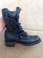 Vintage Shoe Company Jennifer Tanker Boots Black Size 6 Hunger Games Combat USA