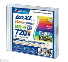 5 Verbatim BD-R BDXL 100 GB Blu ray Triple Layer Bluray Inkjet Printable Discs