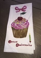 NWT Anthropologie joyeux anniversaire Cup Cake Dish Towel Anniversary Gift