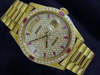 Rolex Mens Day-Date President Solid 18K Yellow Gold Watch Pave Diamond Ruby