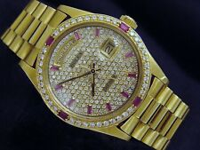 Men Rolex Day-Date President Solid 18K Yellow Gold Watch Pave Diamond Ruby 18038
