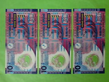 Hong Kong 10 Dollar Polymer 2007 (UNC),  3pcs Same Number 434588