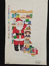 Hand-painted Needlepoint Canvas Christmas Stocking/Santa Waving in Front of Toys