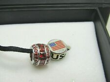 Kay Sterling Silver Red Rhinestone & USA Bead/Pendant/Charms, Charmed Memories,