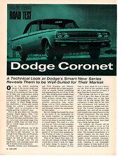 1965 DODGE CORONET OPTIONAL 426 HEMI-CHARGER ~ ORIGINAL ROAD TEST/ ARTICLE / AD