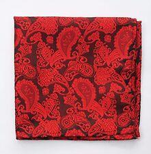 Hankie Pocket Square Handkerchief Red & Black Paisley