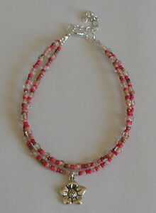 Double Strand Pink Glass Beads Flower Charm Anklet Ankle Bracelet