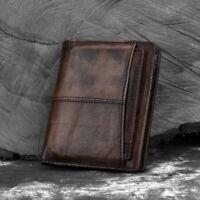 Retro Men's Genuine Leather Bifold Purse ID Credit Card Holder Clutch Wallet Bag