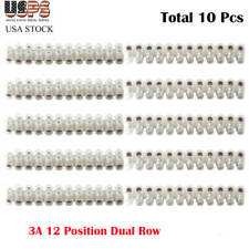 10pcs 3a Dual Row 12 Positions Screw Terminal Electric Barrier Strip Block