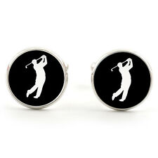 GOLFER CUFFLINKS  SILVER PLATED + FREE GIFT BOX  & 1ST CLASS POST