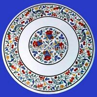 24 Inches Marble Coffee Table Top Round Center Table Top with Marquetry Art