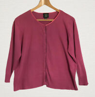Laura Ashley Vintage Cardigan Pink Cotton Long Sleeve Poppers Size XL Smart Work