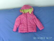 Ragazze 2 ANNI-Rosa con Cappuccio Caldo Cappotto Showerproof, logo ricamato-GINKANA DUDU