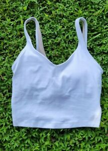 Lululemon Womens White Align Cropped Tank Top Size 2 Pre-owned