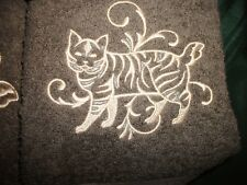 American Bobtail/ Manx Cat Design, 3 Pc Set, Alamo Brown Jcp Towels