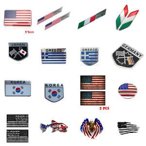 Car Sticker Emblem Badges Decal US,Italy,Japan,Greece,Germany,France,Korea Flag