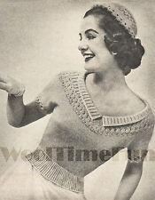 "Vintage Knitting Pattern Lady's 1950s Glamour Low Neckline Jumper.32""-42"" Bust."