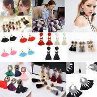Women Bohemian Crystal Earrings Fashion Tassel Fringe Dangle Earrings Jewelry