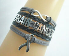 Infinity BRAIN CANCER with Cancer AwarenessRibbon Charms Suede Leather Bracelet