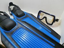 US Divers Aqua Lung Fins Blades Adj Adult Medium With Magnum Scuba Goggles Mask