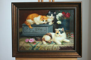 "Framed oil on board Repro animals painting pets cats hand-painted 12""x16"""