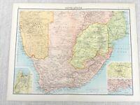1898 Map of South Africa Johannesburg Pretoria Bartholomew Antique Original