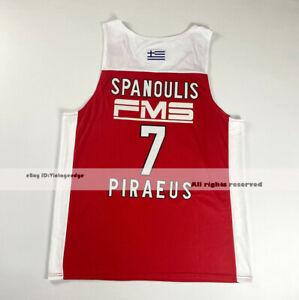 Greece Vassilis Spanoulis #7 Piraeus Basketball Jerseys Custom Names 2 Colors