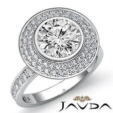 Halo Pave Round Diamond Lustful Engagement Ring GIA F VS2 18k White Gold 2.25ct