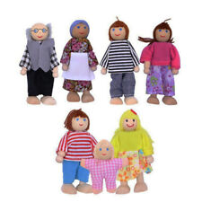 Dolls House Family Of 7 Flexible Wooden Doll House People Figures&Role Play Game