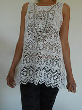 NEW WOMAN'S LADIES SMART ELEGANT 100% COTTON WHITE LACE TOP-STUNNING ON 10 12