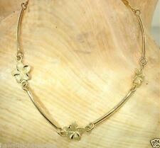 "Hawaiian Plumeria Curved Bar Anklet 9.0"" #Sl 8Mm Solid 14K Yellow Gold Dc Matted"