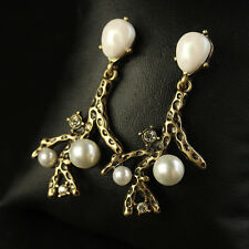 Costume Earrings Studs Gold White Pearl Baroque Branches Retro Chandelier B1