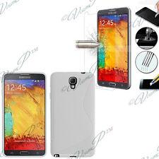 Funda Carcasa Lámina Vidrio Templado TPU silicona BLANCO Samsung Galaxy Note 3