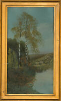 Framed Early 20th Century Oil - Silver Birch Landscape