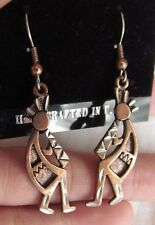 Handcrafted Diamond Cut Copper Coated Pewter Kachina Flute Player Hook Earrings
