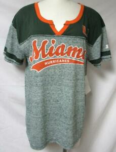 Starter Miami Hurricanes Women's Size Medium Split V-Neck T-Shirt A1 3423