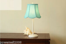 European Simplicity Metal+Cloth Light-Blue Diameter 25cm Height 52cm Table Lamp